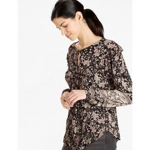 Lucky Brand | Mixed Print Ruffle Top